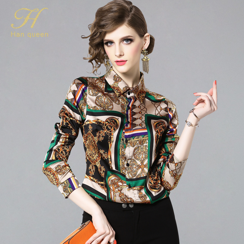 H Han Queen New Summer Fashion Shirts Women Turn-down Collar Printed Vintage Blouse Female Single-breasted Blouses Casual Tops