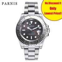 2019 New Parnis 40mm Automatic Deep Sea Series Men Watch Rotating Ceramic Mechanical Men's Watches Safe Folding Clasp Man Clock