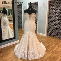 Summer Beach Mermaid Wedding Dresses 2018 Cheap Sexy Sweetheart Neck Appliques Lace Beaded Court Train Merry Bridal Gowns