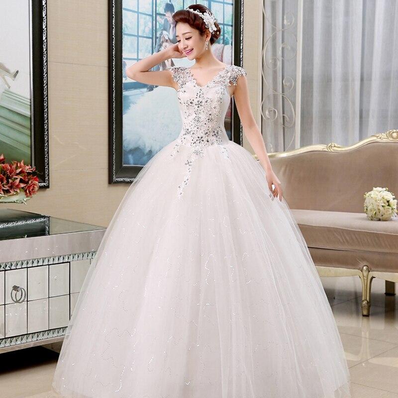 Sexy V-Neck Princess Wedding Dresses Lamya Vestidos De Novia Cheap Bridal Gown 2017 Customized Wedding Dress