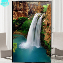 PSHINY 5D DIY Diamond embroidery Waterfall landscape picture Full Mosaic kit Round rhinestone Diamond Painting cross stich цена
