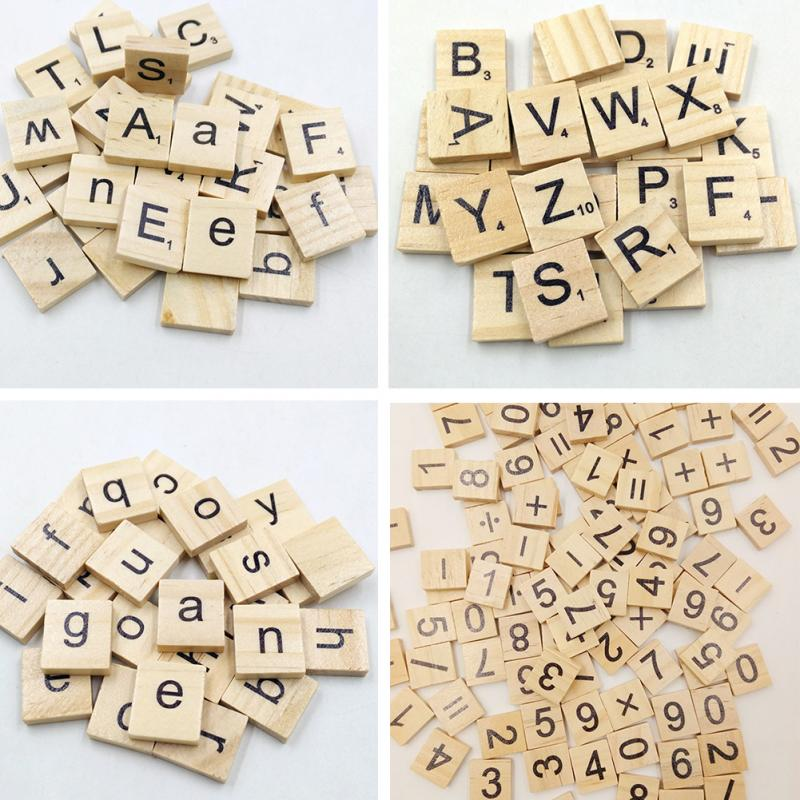 100Pcs Alphabet Tile Complete Wooden Number Scrapbooking Handcraft Word Name Tage Letter Set Scrabble