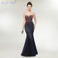 Сапфир люкс Для женщин длинное вечернее платье сатиновое платье с юбкой годе вечерние платья темно синий пурпурный