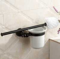 Luxury Bathroom Accessories High Quality Copper Black Finish Toilet Brush Set Creative Toilet Bowl Toilet Cleaning