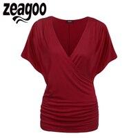 Zeagoo Women Crossover V Neck Tops T Shirt Women Batwing Sleeve Tshirt Short Sleeve Casual Women