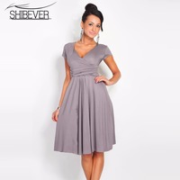 SHIBEVER Summer new fashion women casual dress V-neck solid sexy party dresses plus size casual beach dress for women 2017 LD191