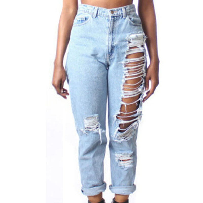 Hot 2016 Plus Size women clothing High Waist Ripped jeans boyfriend for women LC78616 Fashion Destroyed Denim pants