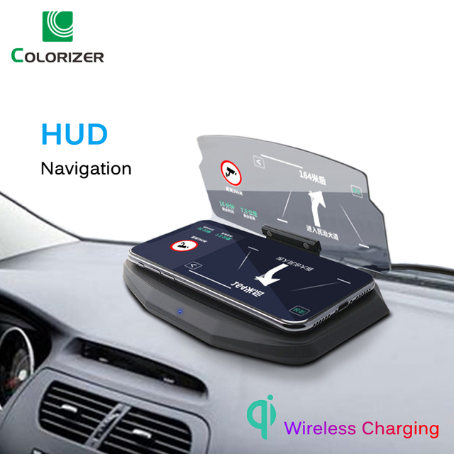 Chargeur sans fil pour téléphone intelligent universel voiture miroir support pare brise projecteur HUD tête haute affichage GPS Navigation HUD support
