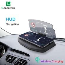 Wireless Charger สำหรับโทรศัพท์สมาร์ท Universal รถกระจกผู้ถือกระจกโปรเจคเตอร์ HUD Head Up แสดงผล Navigation GPS Bracket