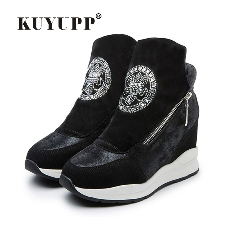 Women Boots Wedges Hide Heels Rhinestone Leather Boots Platform Shoes High Top Ankle Boots Double Zips Ladies Shoes Gold DX155 eiswelt women zip ankle boots heels women soft leather platform shoes female wedges shoes zqs185