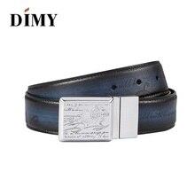 Dimy, дизайнерские ремни из натуральной кожи, деловой мужской ремень, ручная работа, дикая кожа, гладкая Пряжка, молодежные брюки для мужчин