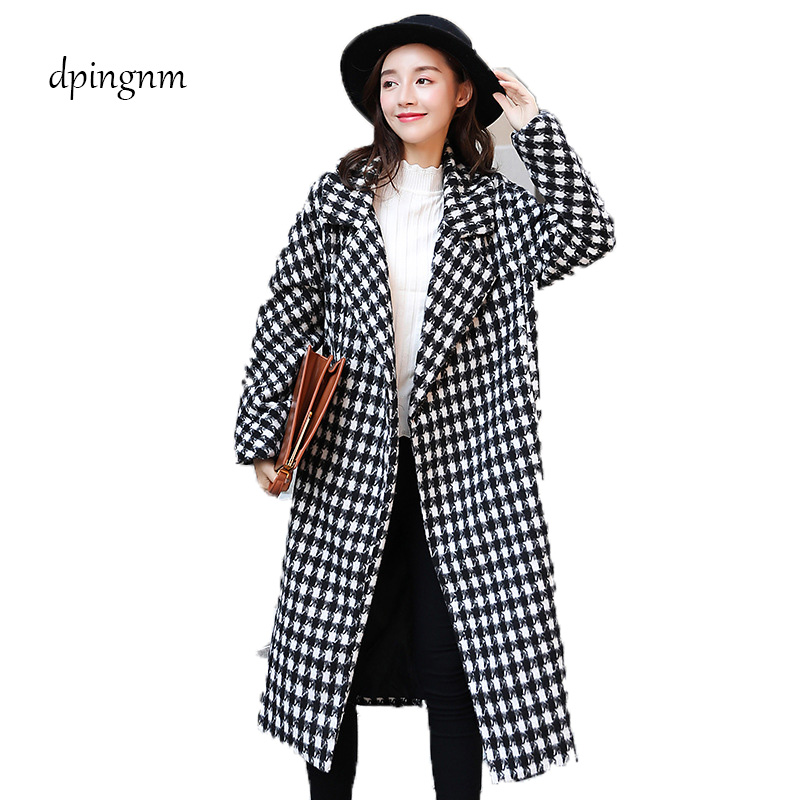 New Women's Wool Blends Coat Winter 2018 Autumn Fashion Elegant Loose Long Tweed Woolen Outerwear Female High Quality Grey Coats
