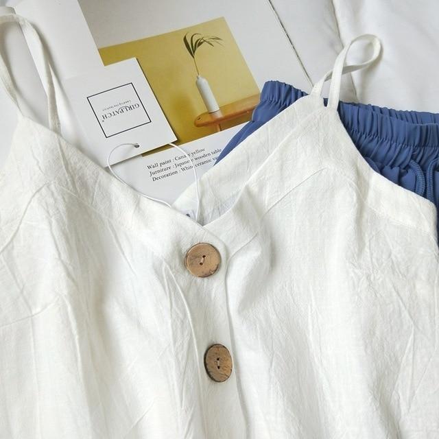 Cotton Linen V-neck Camisole Summer Women Vintage Buttons Cotton Linen Tops Sleeveless Crop Tops 2