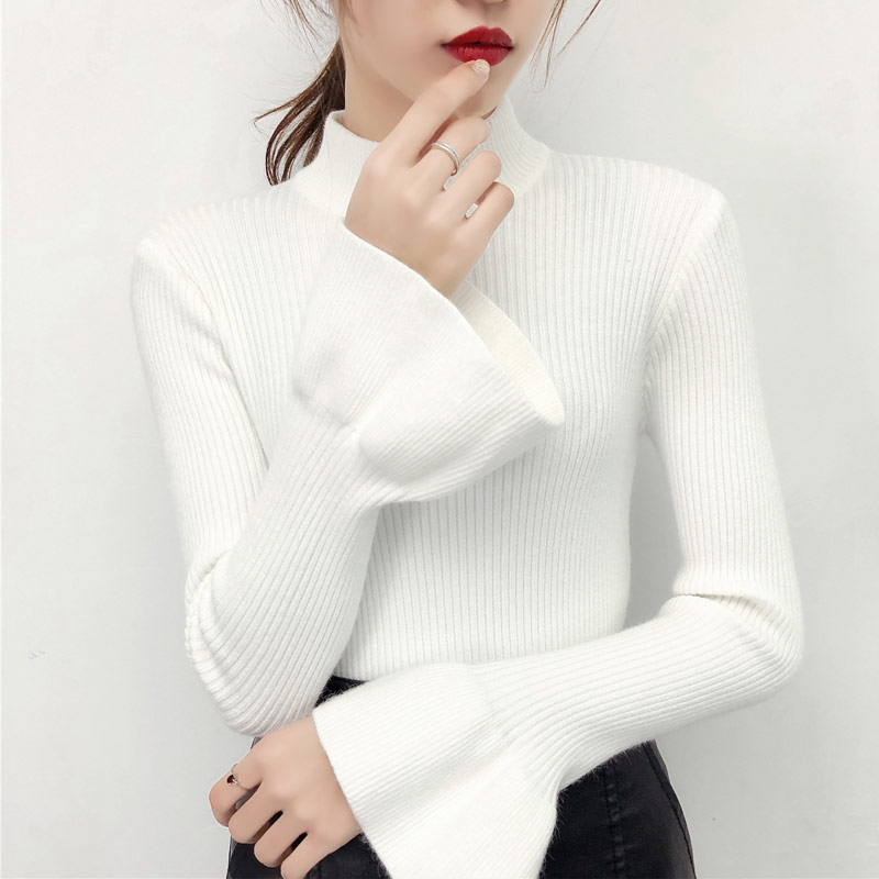 Half Turtleneck Women Sweater Korean Basic Pullover Autumn Winter New Thick  Flare Sleeve Slim All Match Kitted Tops Pull Femme-in Pullovers from Women s  ... 7666e38cd