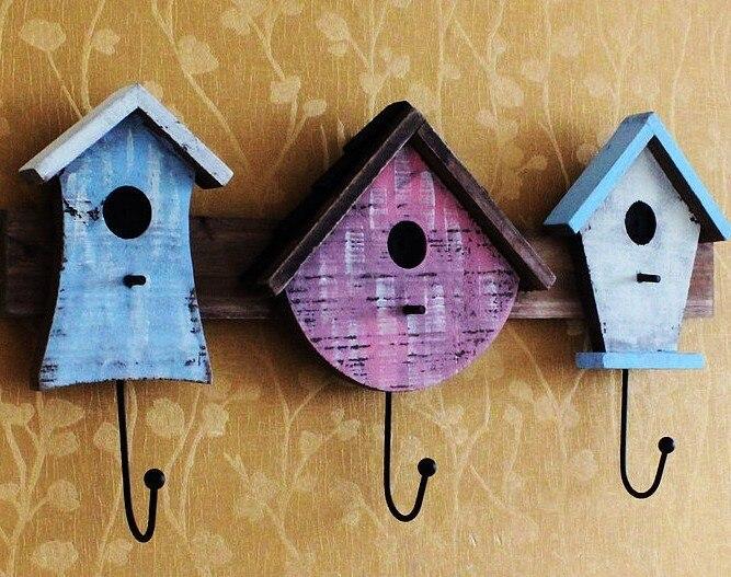 Fashion Vintage Retro Wooden Bird House Coat Hang 3