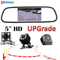 HaiSunny 5 Inch Car Interior Rearview Mirror Monitor With ParkingBakcup Reverse Camera Dynamic Line Night Vision
