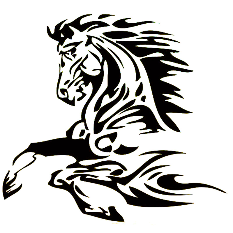 16.6cm*15.4cm Animal Tattoo Horse Stallion Fashion Vinyl Decal Car Sticker Black/Silver Car Accessories S6-2820