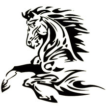 16.6cm*15.4cm Animal Tattoo Horse Stallion Fashion Vinyl Decal Car Sticker Black/Silver Car Accessories S6-2820(China)