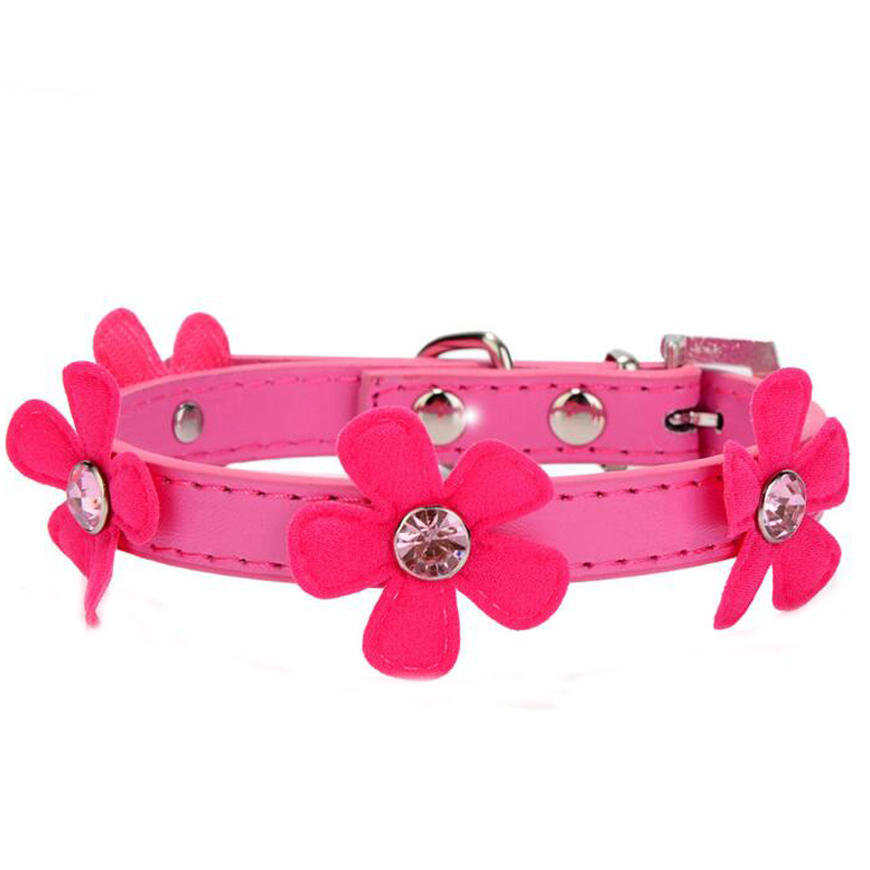 Flower Adjustable Leads Neck Strap Leather Pet Dog Cat Collar Buckle Collars For Teddy Chihuahua Yorkshire Small Pets XS S M L