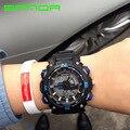 Мужчины Спорт Военная Наручные Часы 2016 Новый SANDA Часы Мужчин Люксовый Бренд 3ATM 30 м Dive СВЕТОДИОДНЫЙ Цифровой Аналоговый Кварцевые Часы OP001