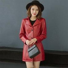 Faux Leather Coat Women Black Red 5XL 6XL Plus Size PU Jacket 2019 New Autumn Winter Korean Fashion Cotton Mom CX943