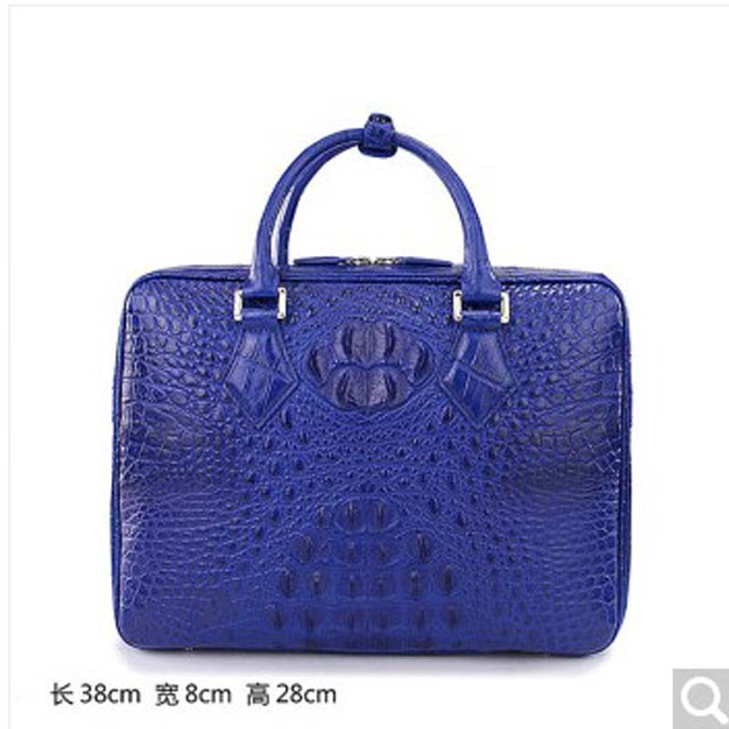weitasi Crocodile leather men handbag fashion Large-capacity business casual briefcase Mens big bag sapphire blue crocodile