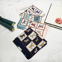 70X70cm Simulated Silk Scarf for women Horse printed Neck scarf for girl Euro fashionable foulard scarves travel head bag scarf