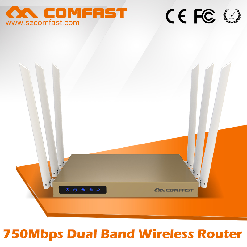 COMFAST 750Mbps 802.11ac Dual Band wireless router with 6*6dBi antenna wifi CF-WR635AC 27dBm wi fi router wi-fi coverage 600sq.m comfast full gigabit core gateway ac gateway controller mt7621 wifi project manager with 4 1000mbps wan lan port 880mhz cf ac200