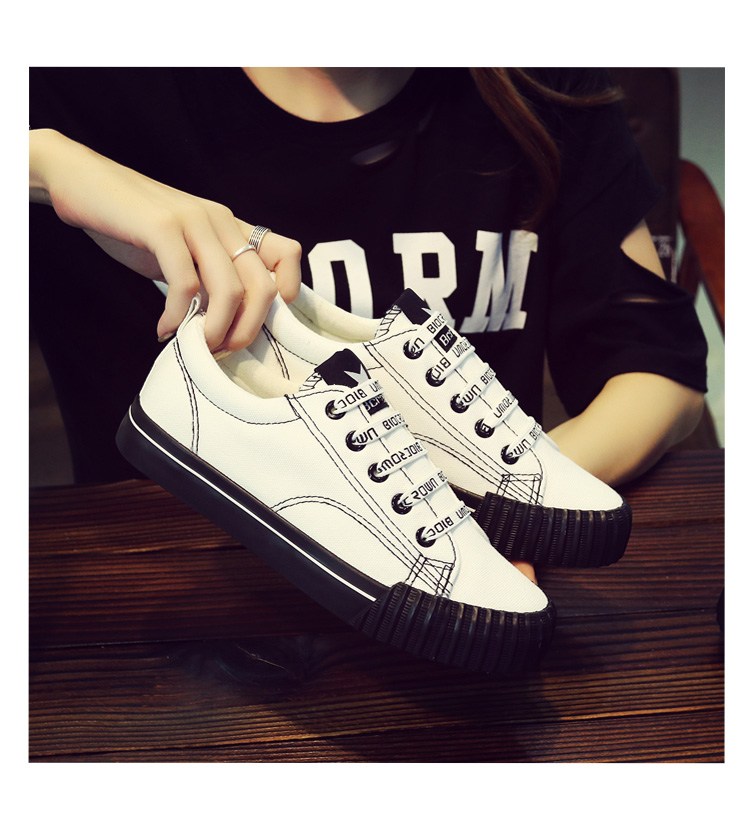 Spring Korean versatile canvas shoes female 2018 new students Harajuku cloth shoes casual black Hong Kong wind board shoes 37