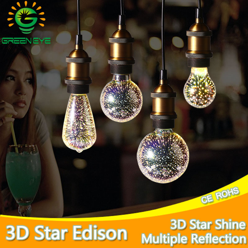 Silver Plated Glass Colourful 3D LED Edison Bulb Holiday Novelty Christmas Decoration Night Bar Light led Lamp A60 ST64 G80 G95 палатка holiday 3 кт3018