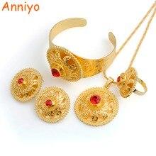 Anniyo oro Color joyería conjuntos con piedra roja Habesha lujo dote tradición africana boda Set #000235