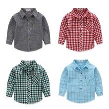 Распродажа! ; сезон весна-осень; хлопковая клетчатая рубашка с длинными рукавами для маленьких мальчиков
