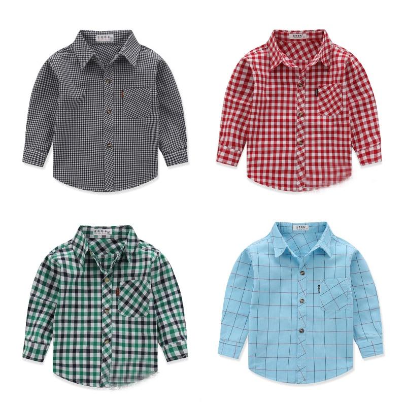 SALE! Free shipping spring autumn baby boy cotton Long sleeve plaid shirt