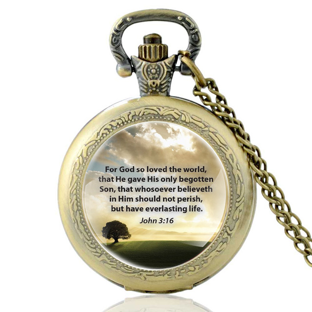 For God So Loved The World Bible Verses Cross Quartz Pocket Watch Vintage Bronze