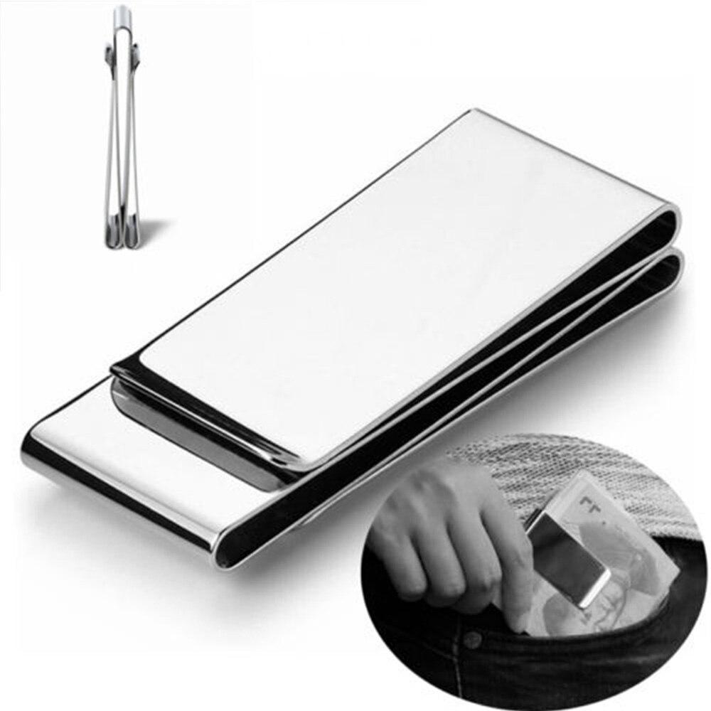 1 Pcs Mode Edelstahl Geld Clip Silber Metall Tasche Halter Brieftasche Kreditkarten