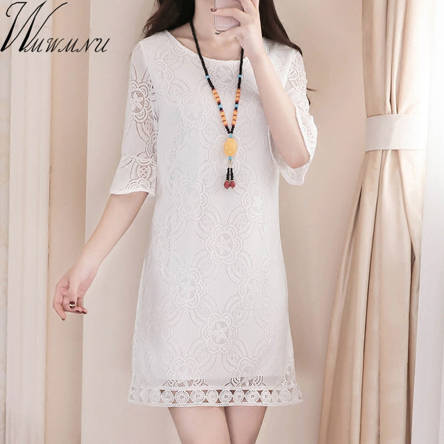 6753387ccf9 2018 new Ladies black white Casual Mini Dresses New summer Style plus size  4XL round Neck Short Sleeve lace Dress