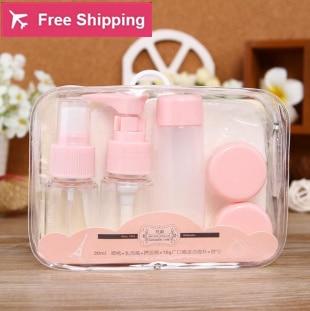 7 Pcs/Set Portable Perfume Atomizer Lotion Face Wash Sponge Hydrating Spray Bottle Makeup Tools Travel Kits недорого