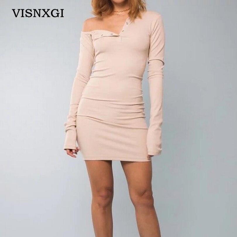VISNXGI осень одно плечо Bodycon сексуальное мини платье Женская одежда с длинным рукавом Эластичный Белый Вечерние Клубные черные короткие