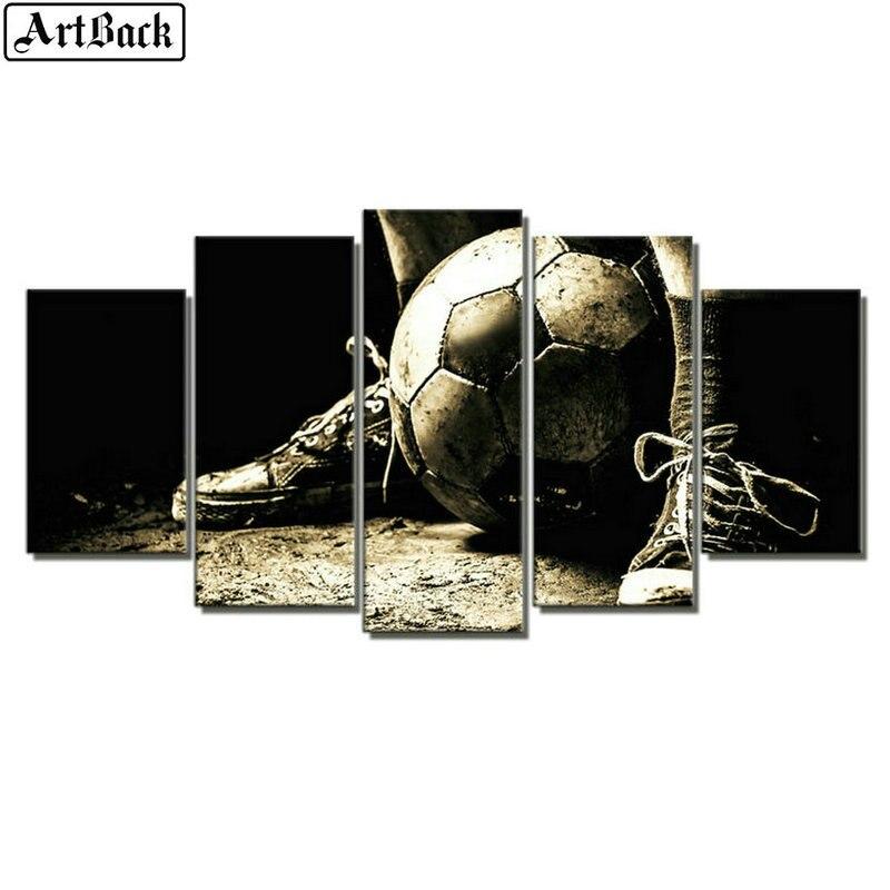 5d diamant peinture football modèle plein carré forage diamant mosaïque bricolage 3d diamant broderie décoration de la maison 5 pièces