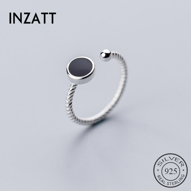 INZATT Real 925 Sterling Silver Geometric Black Enamel Round Ring For Fashion Women Minimalist Accessories Fine Jewelry Gift