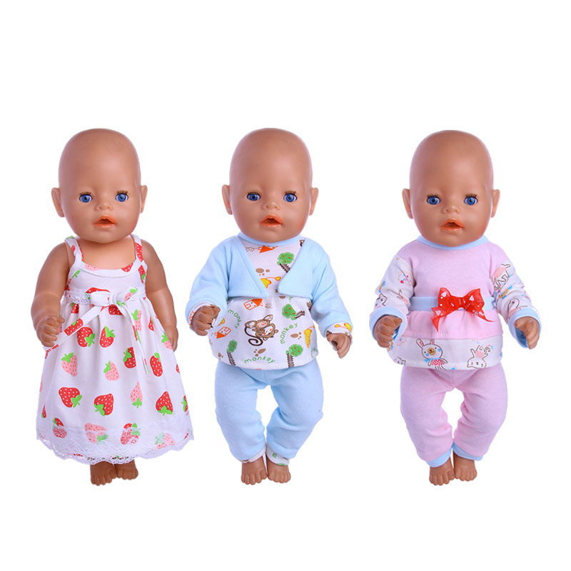 Fletadoll 2019 3 new hot-selling thickening pajamas for 18-inch or 43-cm dolls to give the baby the best gift image