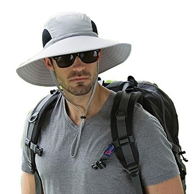 1cf447b5a220e 2018 Summer Fishing Hat Man Women Wide Brim Breathable Mesh Beach Hats Sun  Men