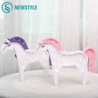 Ins Style Wooden Unicorn LED Night Light Nordic Bedroom Wall Lamps Battery Powered Desk Lamp for Baby Children Kids Gift