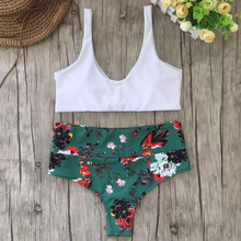 LIVA GIRL sexy women's white print two-piece swimsuit fashion high waist bikini set push-up bra straps knotted swimwear girls
