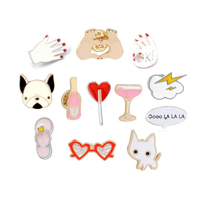 24c9804ea6 Dibujos Animados gatito perro broches lindo relámpago mano taza esmalte Pin  mujeres hombres camisas Collar Pins
