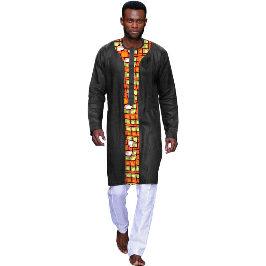 Fashion African Traditional Dashiki Shirt Men Fashion Black Print Patchwork Henry Collar Tops Long Sleeve Africa