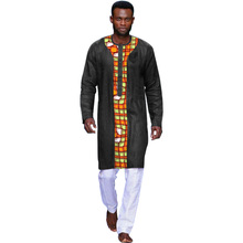 Fashion African Traditional Dashiki Shirt Men Fashion Black+Print Patchwork Henry Collar Tops Long Sleeve Africa Clothing