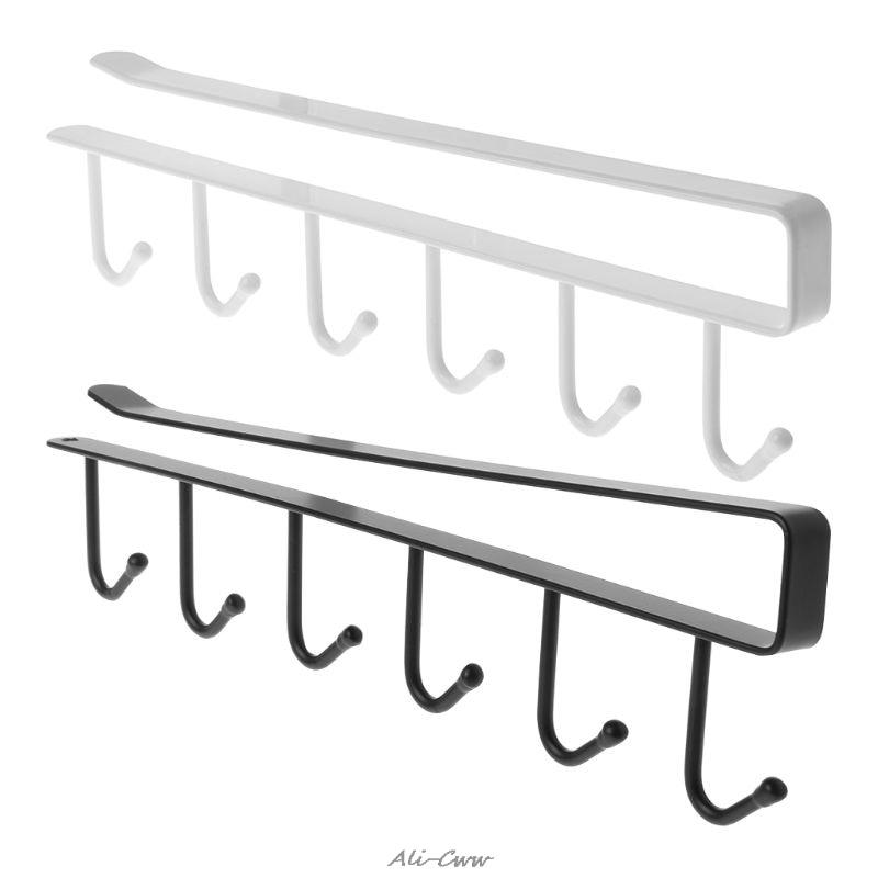 Multi-functional Hanger Iron 6-hooks Storage Rack Wardrobe Organizer Hanger Cupboard Hanging Hook Shelf Cabinet Parts