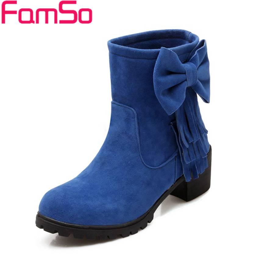 Plus Size34 43 2016 new Fashion font b Women b font Autumn Tassel Boots Thick Heels