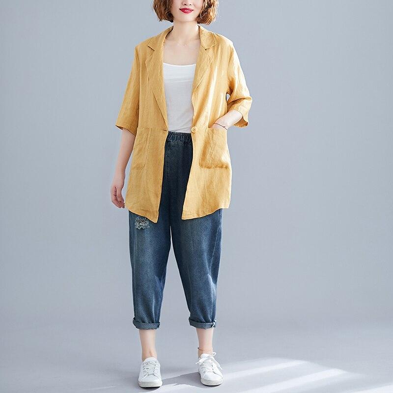 2019 Casual Solid Pockets Linen Women Blazer Jacket Streetwear Ladies Single Button Notched Half Sleeve Blaser feminino Tops